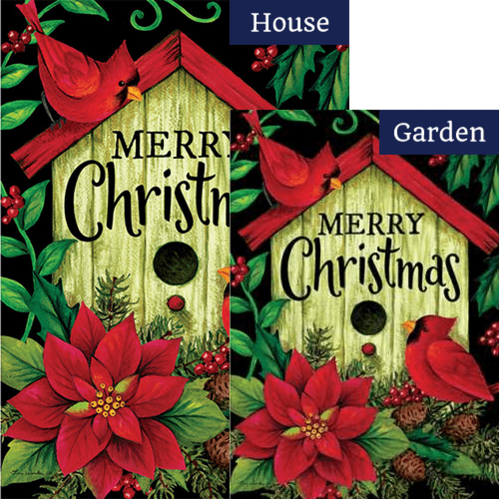 Merry Christmas Birdhouse Double Sided Flags Set (2 Pieces)