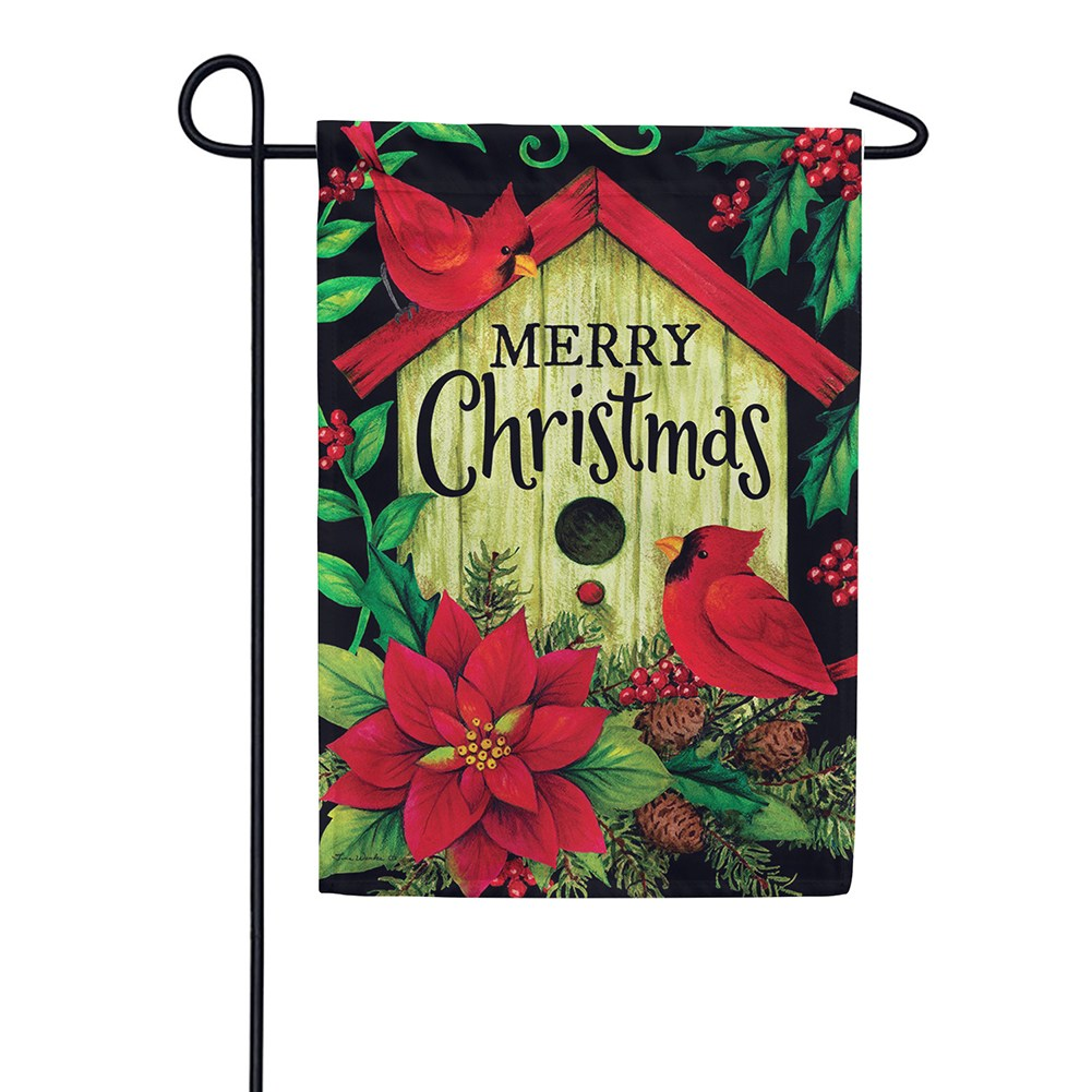 Merry Christmas Birdhouse Double Sided Garden Flag