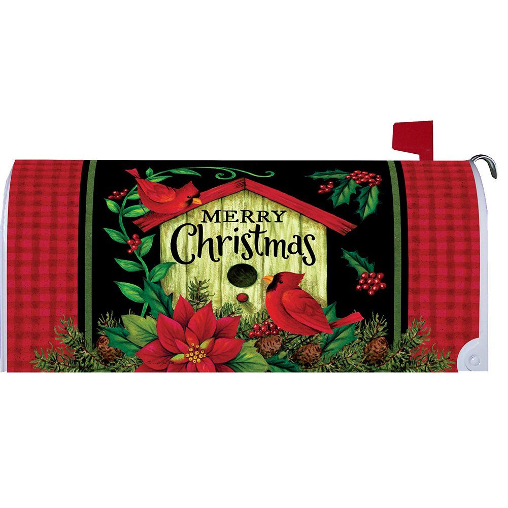 Merry Christmas Birdhouse Mailbox Cover