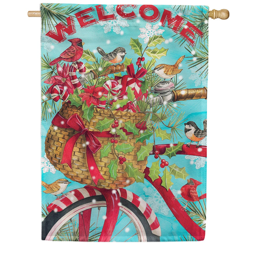 Christmas Bike Double Sided House Flag