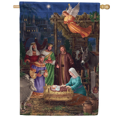 Angel Nativity Double Sided House Flag