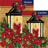 Poinsettia Lantern Holly Double Sided Flags Set (2 Pieces)
