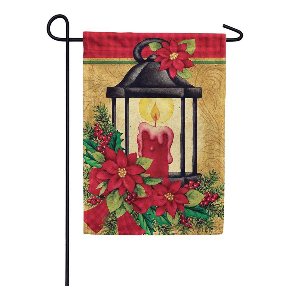 Poinsettia Lantern Holly Double Sided Garden Flag