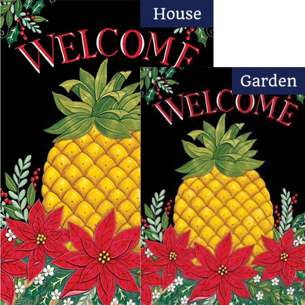 Christmas Pineapple Poinsettias Double Sided Flags Set (2 Pieces)