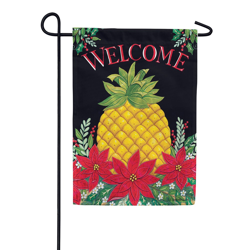 Christmas Pineapple Poinsettias Double Sided Garden Flag