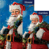 Jolly Santa Snow Double Sided Flags Set (2 Pieces)