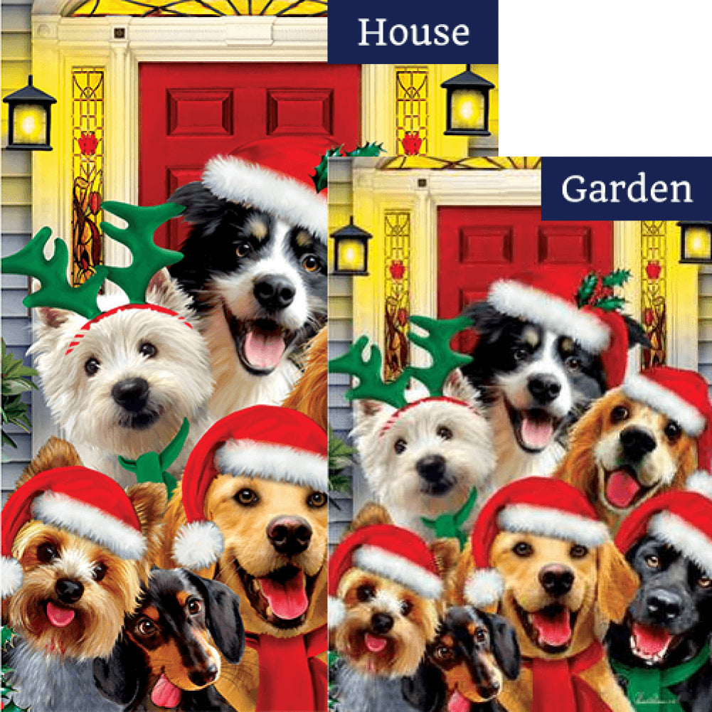 Christmas Dogs Holiday Double Sided Flags Set (2 Pieces)
