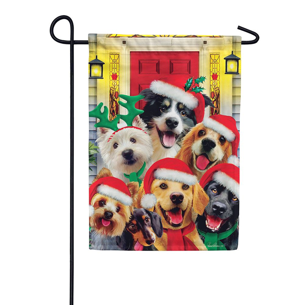 Christmas Dogs Holiday Double Sided Garden Flag