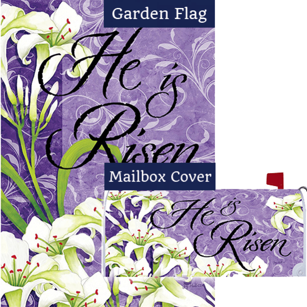 Easter Lilies Risen Double Sided Flag Mailwrap Set (2 Pieces)