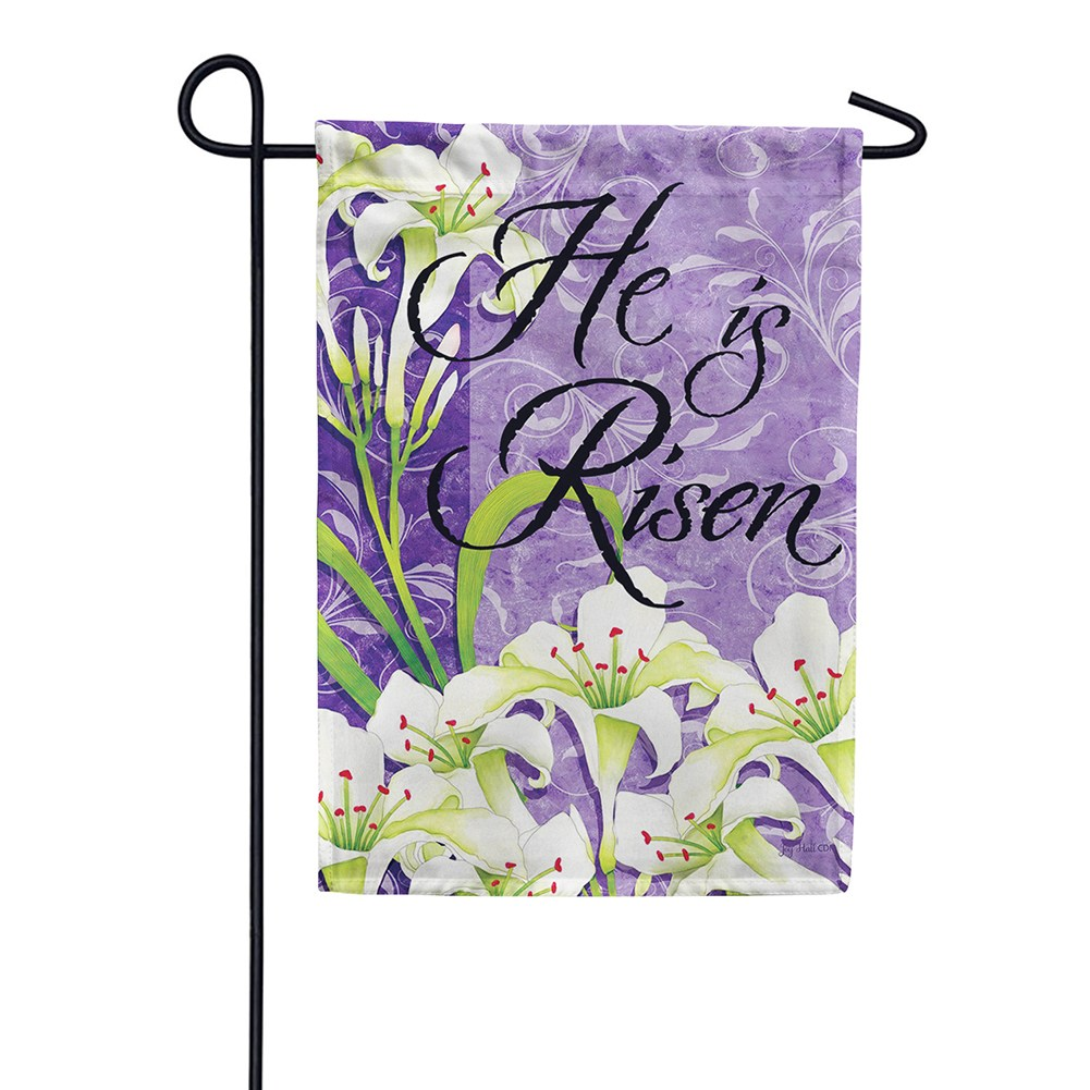 Easter Lilies Risen Double Sided Garden Flag