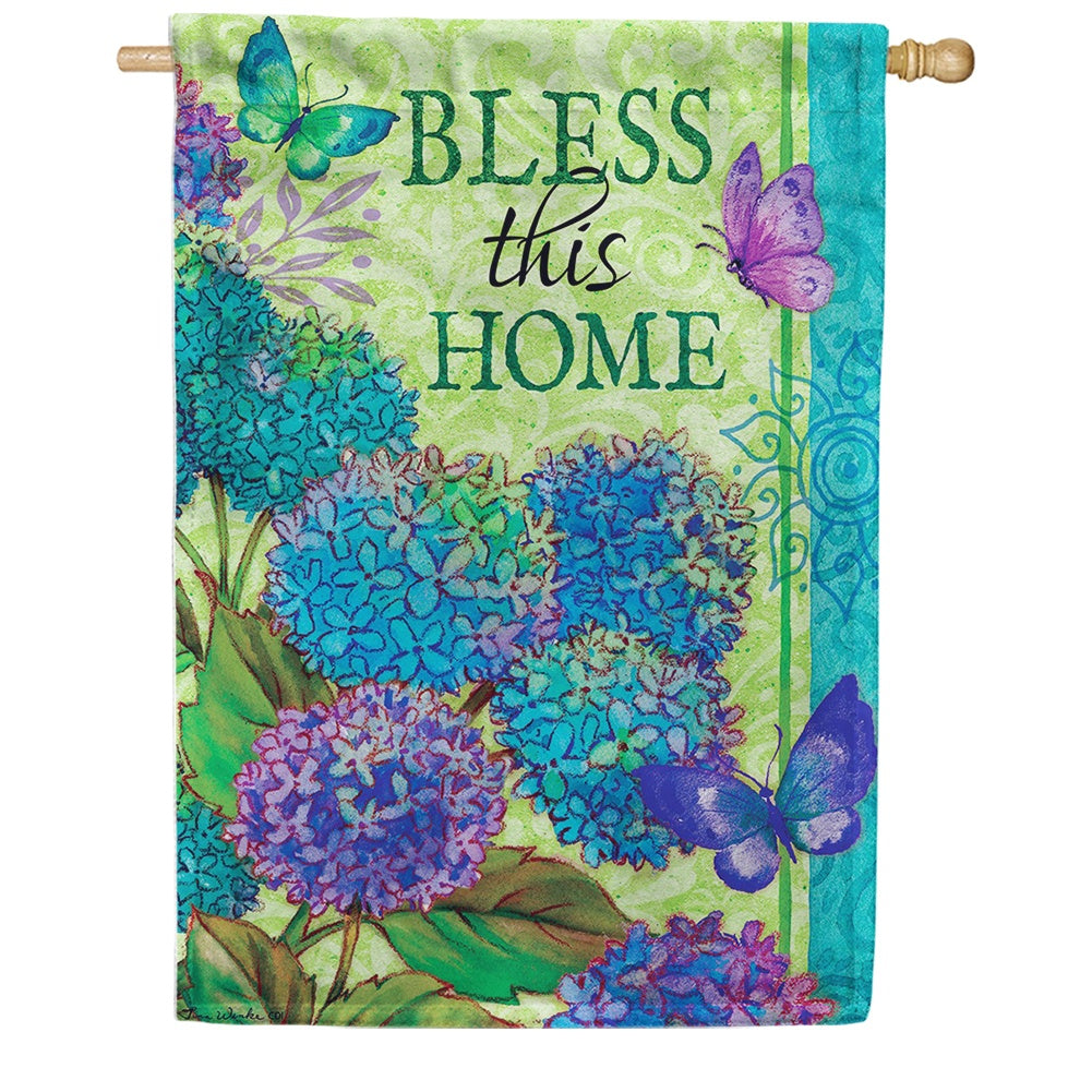 Bless This Home Floral Double Sided House Flag