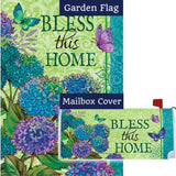 Bless This Home Floral Double Sided Flag Mailwrap Set (2 Pieces)
