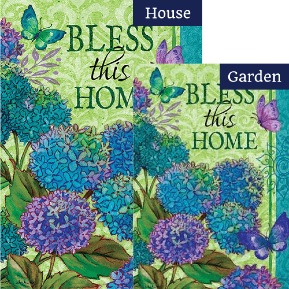 Bless This Home Floral Double Sided Flags Set (2 Pieces)