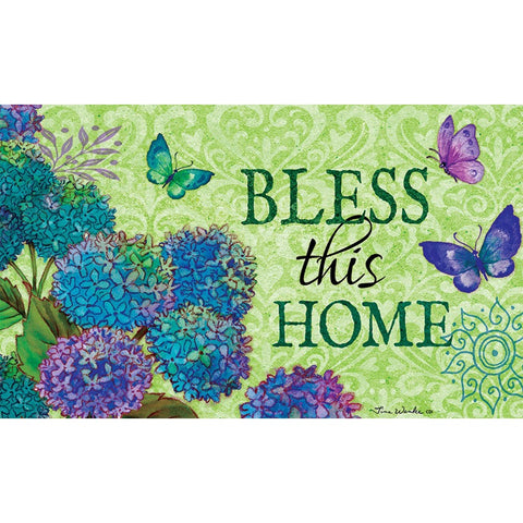 Bless This Home Floral Doormat