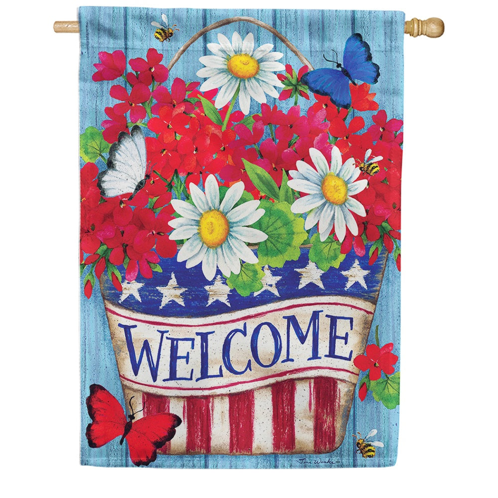 Patriotic Flowers Welcome Double Sided House Flag