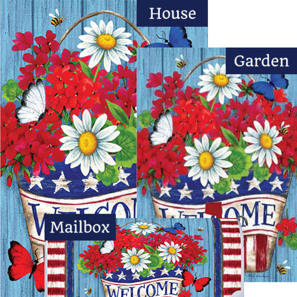 Patriotic Flowers Welcome Yard Makeover Set (3 Pieces)