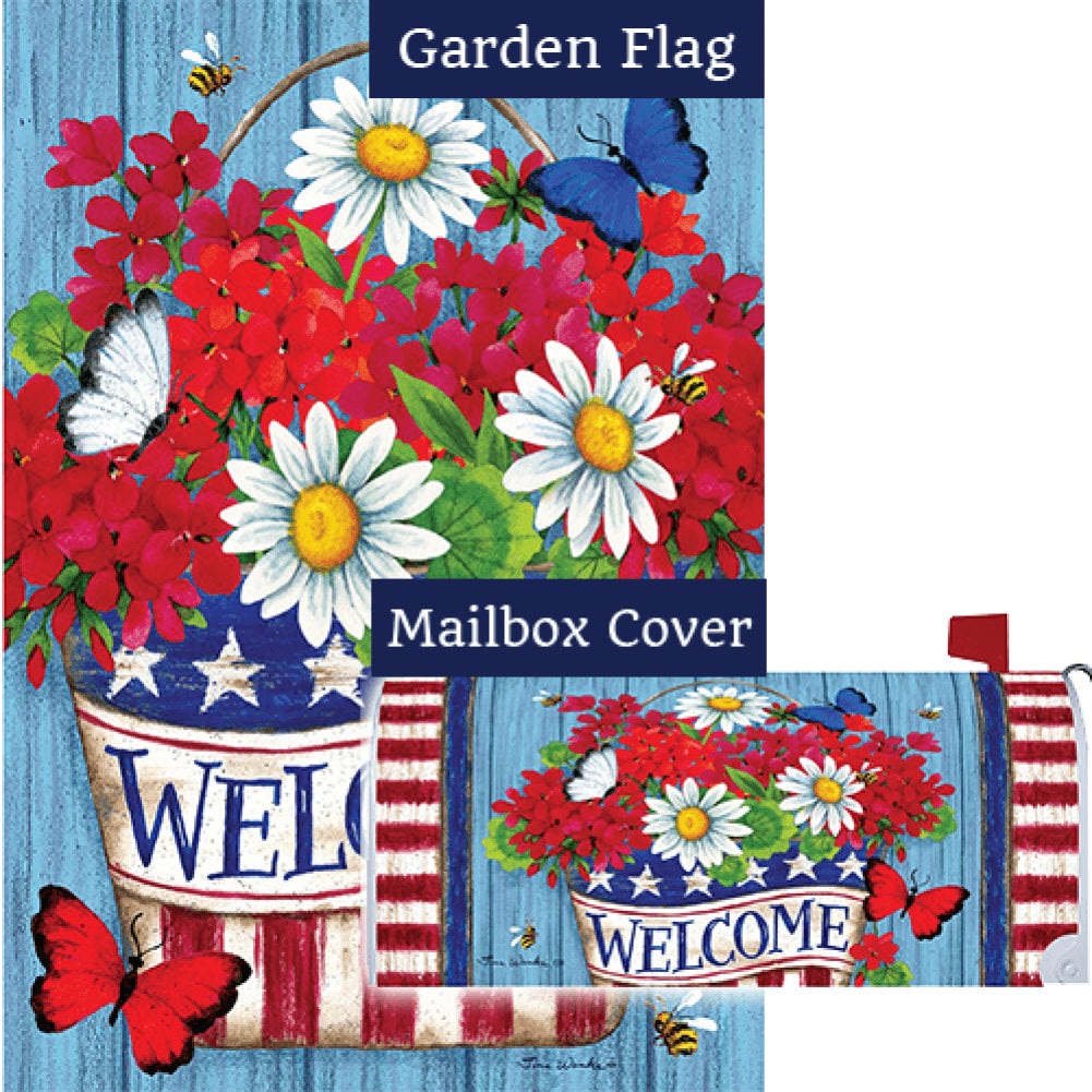 Patriotic Flowers Welcome Double Sided Flag Mailwrap Set (2 Pieces)