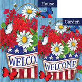Patriotic Flowers Welcome Double Sided Flags Set (2 Pieces)