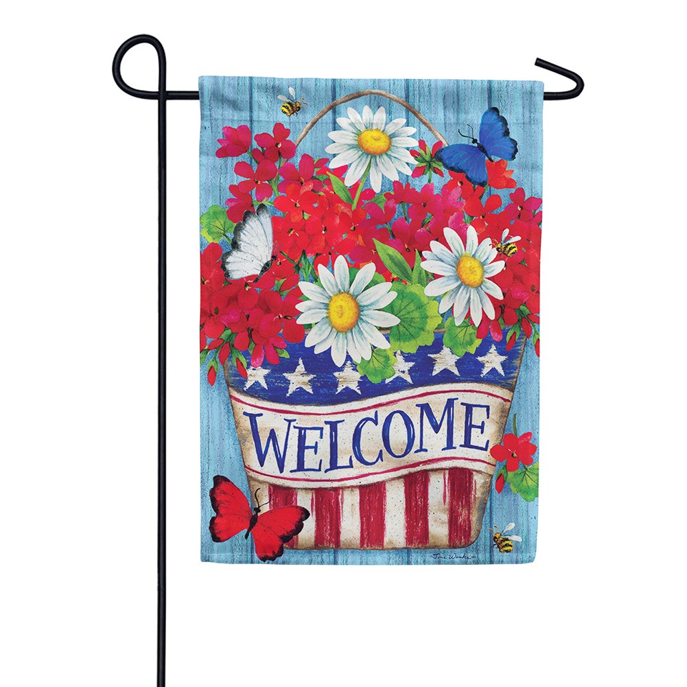 Patriotic Flowers Welcome Double Sided Garden Flag