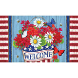 Patriotic Flowers Welcome Doormat