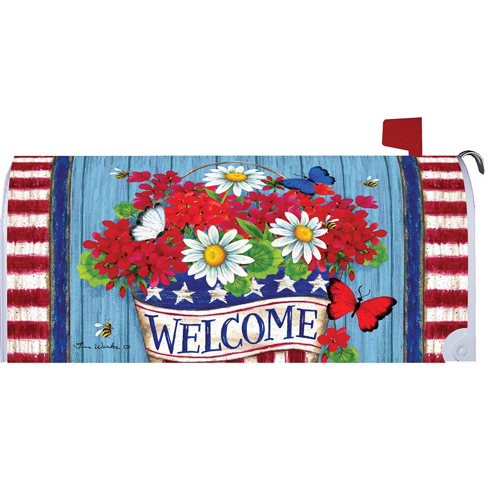 Patriotic Flowers Welcome Mailbox Cover