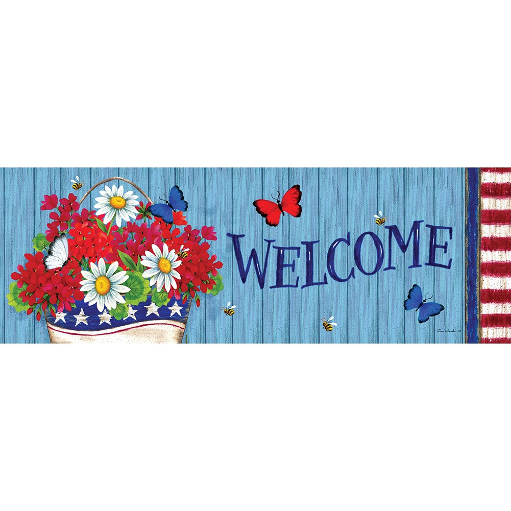 Patriotic Flowers Welcome Signature Sign