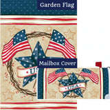 Patriotic Star Wreath Double Sided Flag Mailwrap Set (2 Pieces)