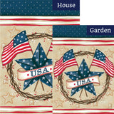 Patriotic Star Wreath Double Sided Flags Set (2 Pieces)