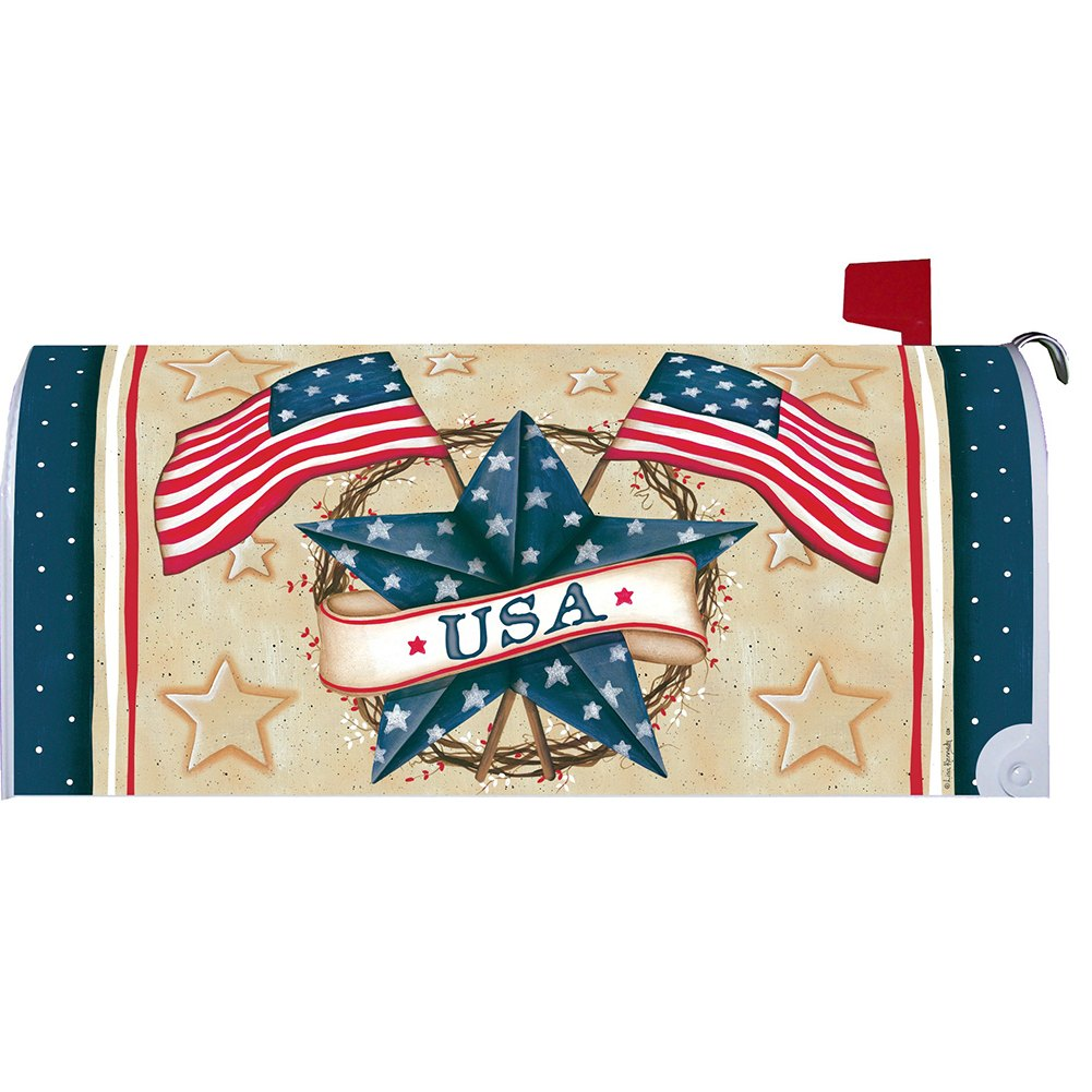 Patriotic Star Wreath Mailbox Cover