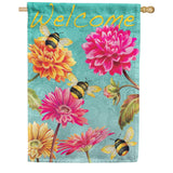 Bumble Bees in the Garden Double Sided House Flag