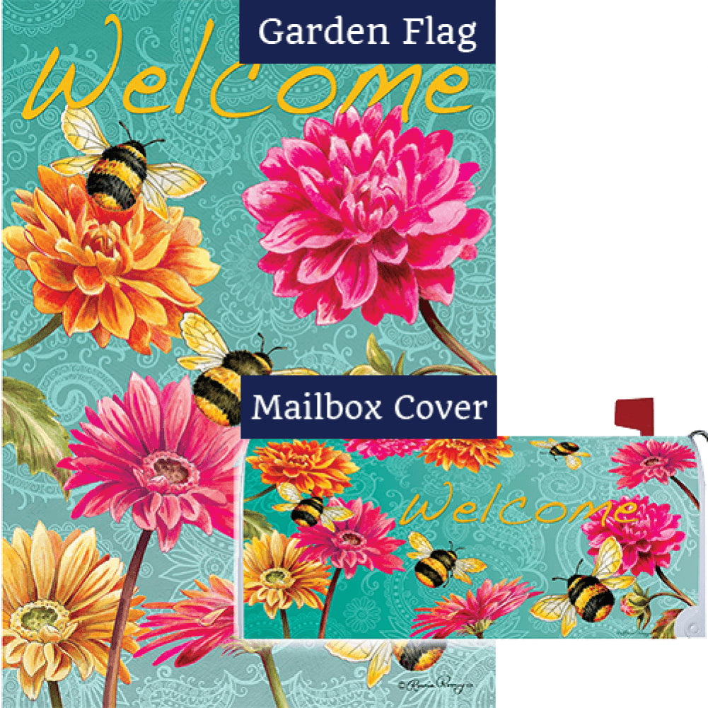 Bumble Bees in the Garden Double Sided Flag Mailwrap Set (2 Pieces)