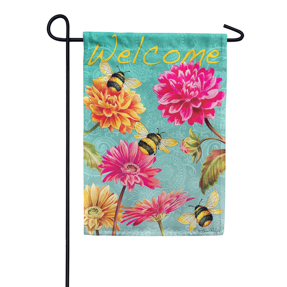 Bumble Bees in the Garden Double Sided Garden Flag
