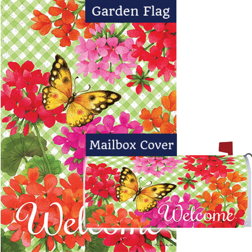 Gingham Geraniums Double Sided Flag Mailwrap Set (2 Pieces)