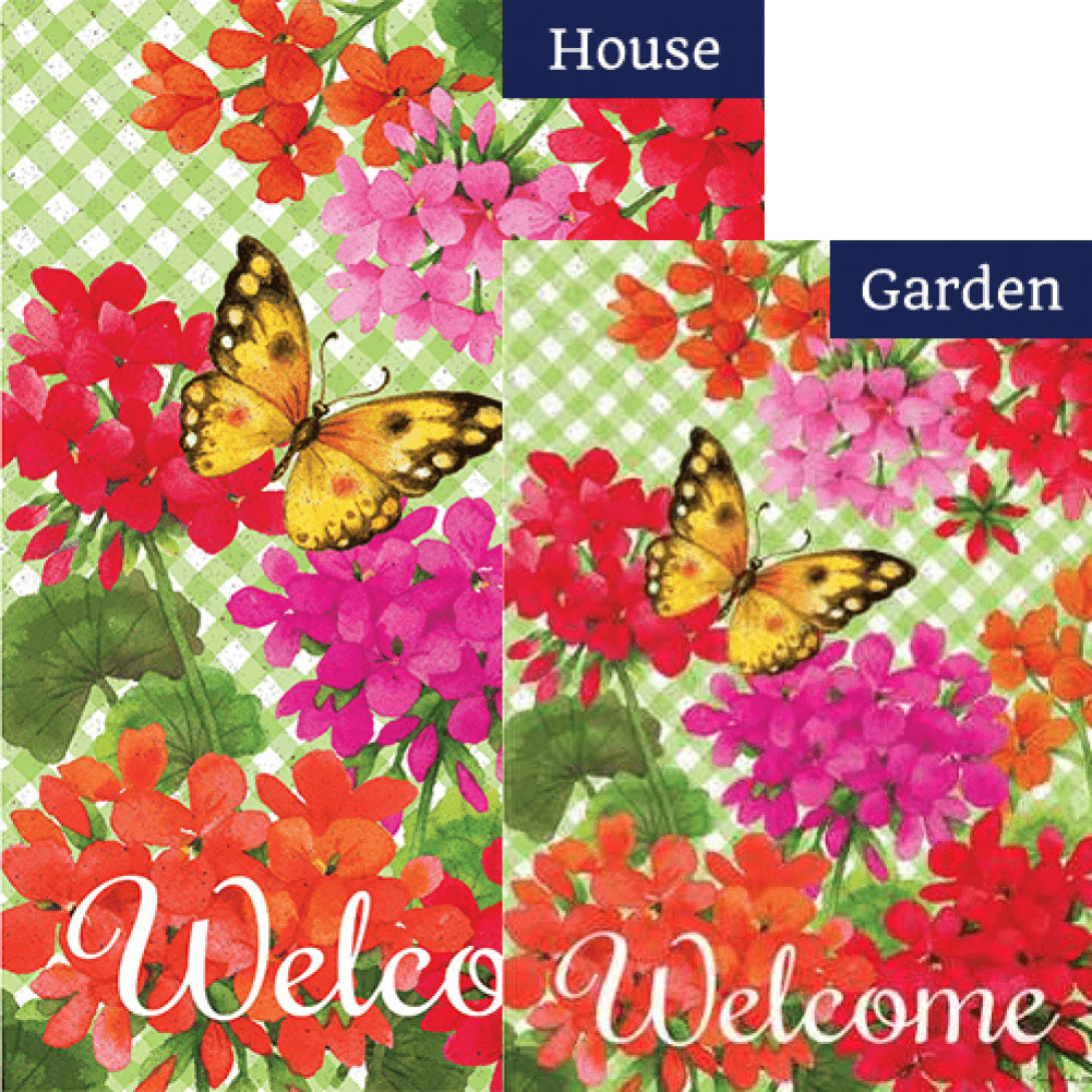 Gingham Geraniums Double Sided Flags Set (2 Pieces)