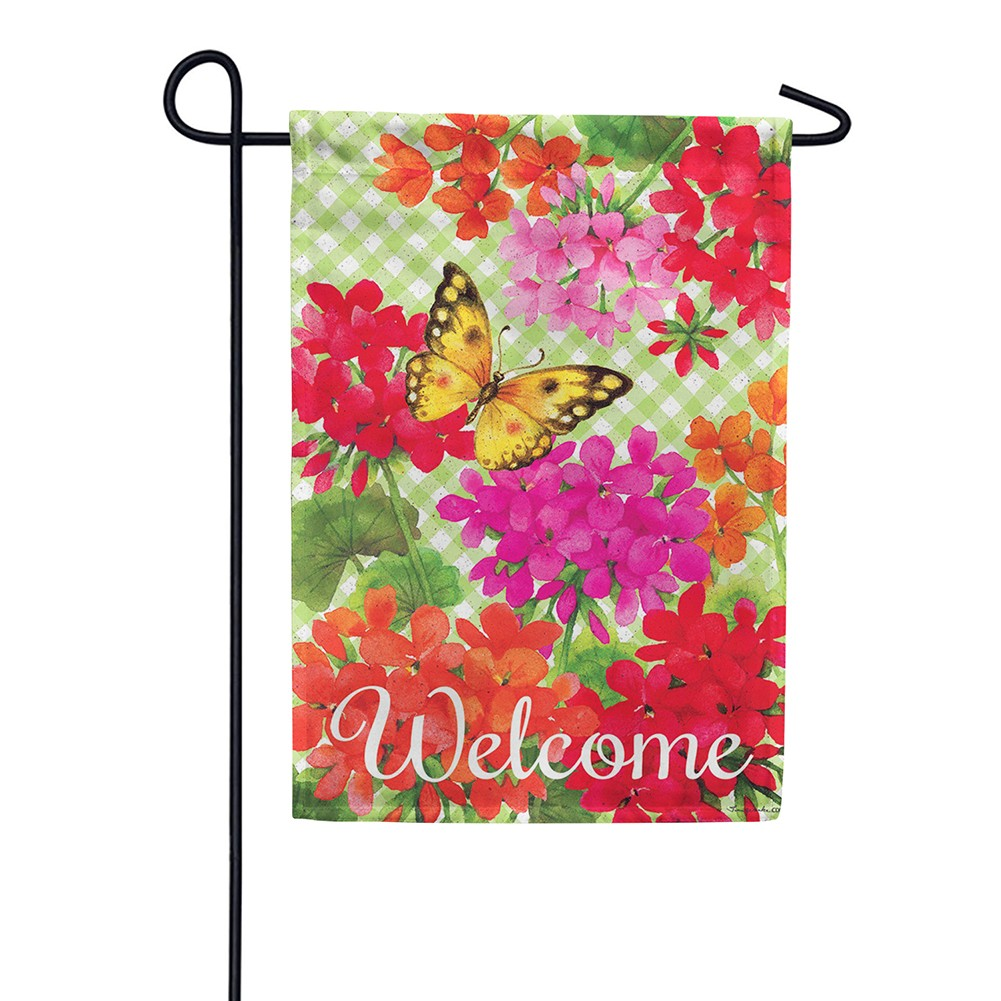 Gingham Geraniums Double Sided Garden Flag