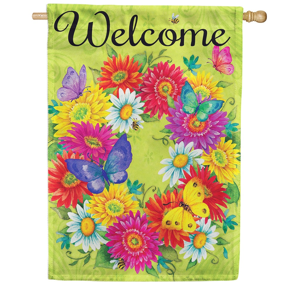 Daisy Wreath Double Sided House Flag