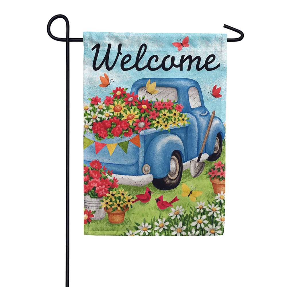 Flower Truck Double Sided Garden Flag