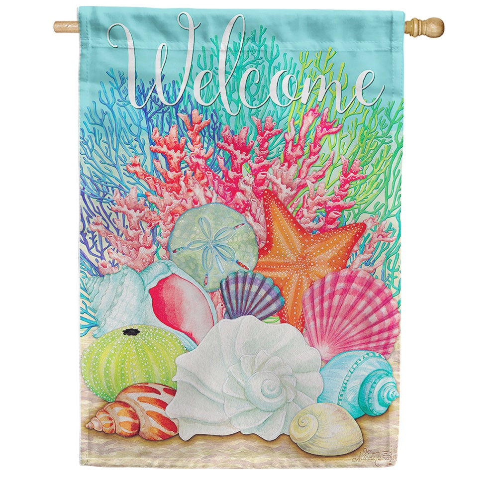 Coral & Seashells Double Sided House Flag
