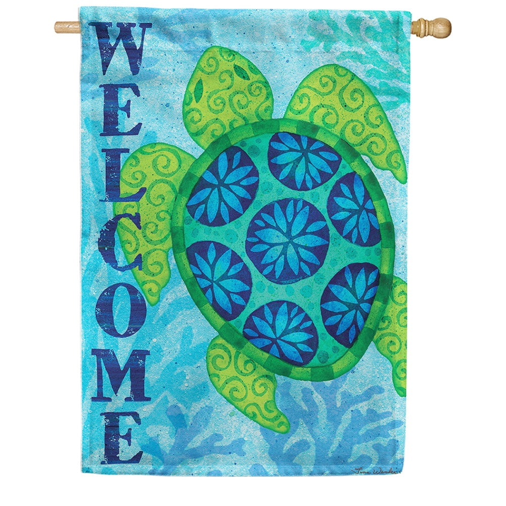 Sea Turtle Blue Double Sided House Flag