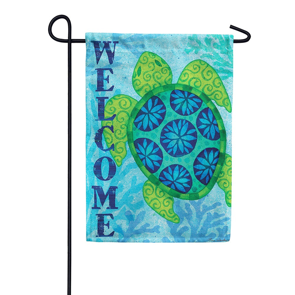 Sea Turtle Blue Double Sided Garden Flag