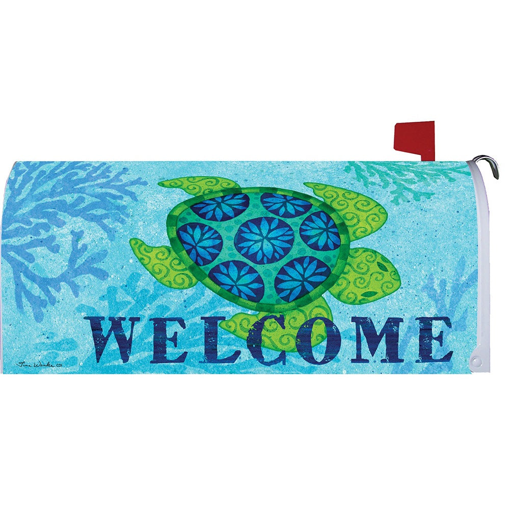 Sea Turtle Blue Mailbox Cover