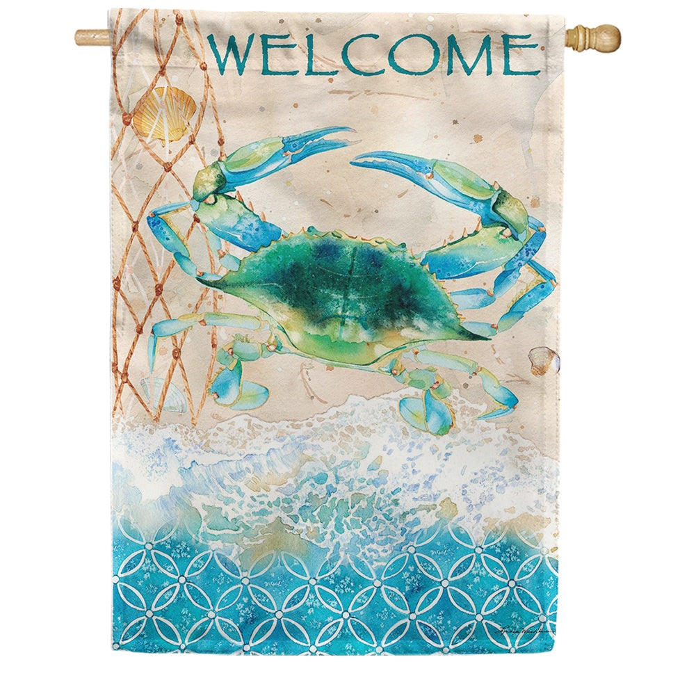 Blue Crab Net Double Sided House Flag
