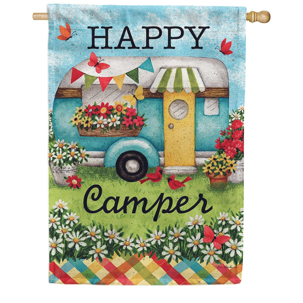 Happy Camper Floral Double Sided House Flag