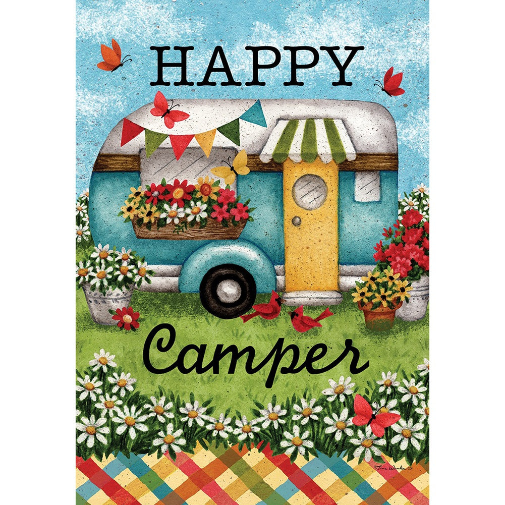 Happy Camper Flowers Garden Flag