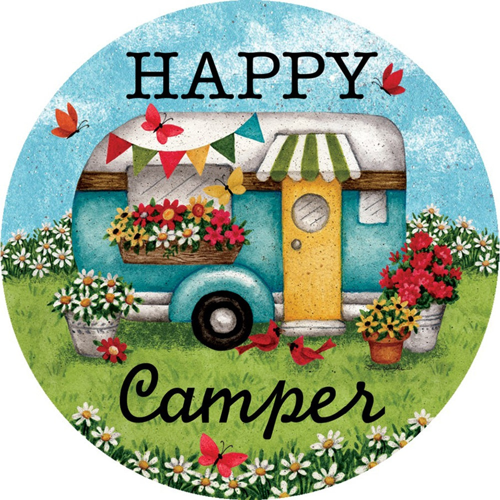 Happy Camper Flowers Accent Magnet