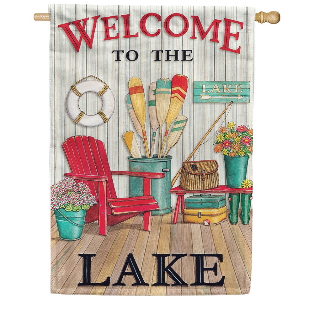 Welcome to the Lake Deck Double Sided House Flag