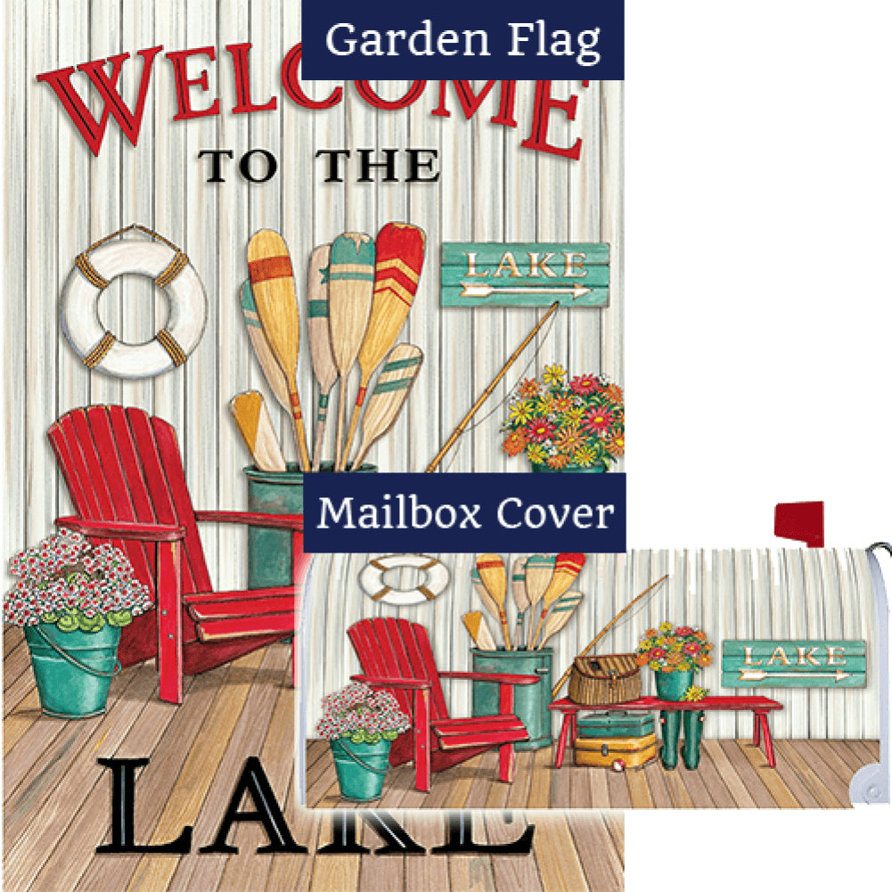 Welcome to the Lake Deck Double Sided Flag Mailwrap Set (2 Pieces)