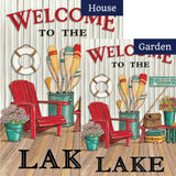 Welcome to the Lake Deck Double Sided Flags Set (2 Pieces)