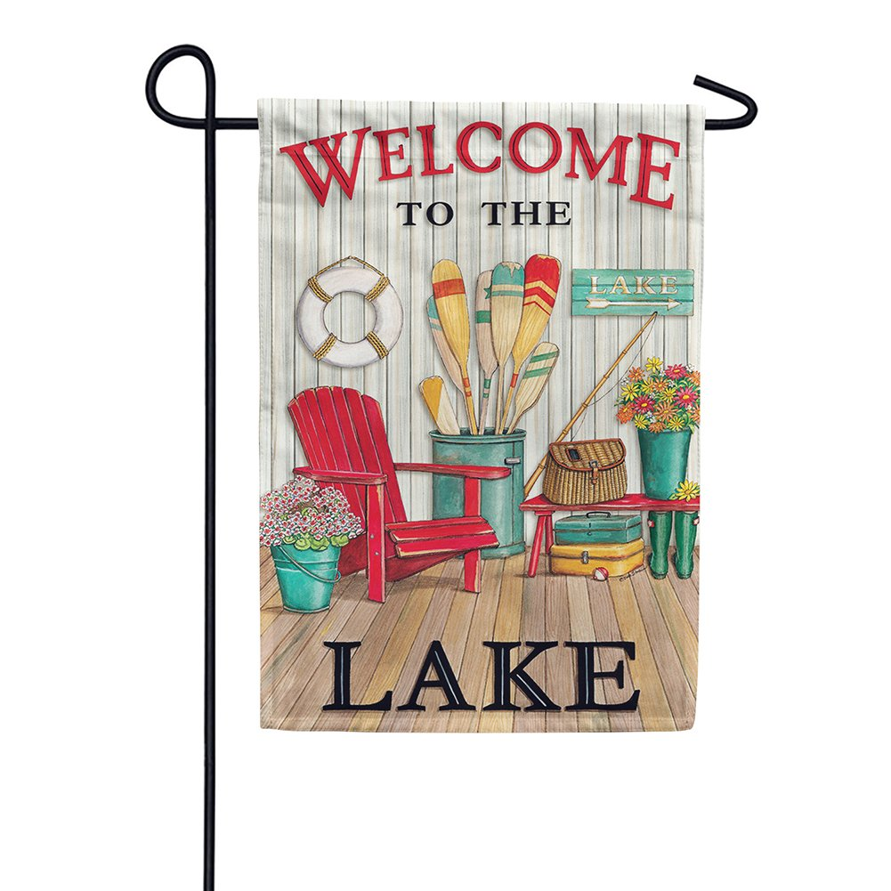 Welcome to the Lake Deck Double Sided Garden Flag