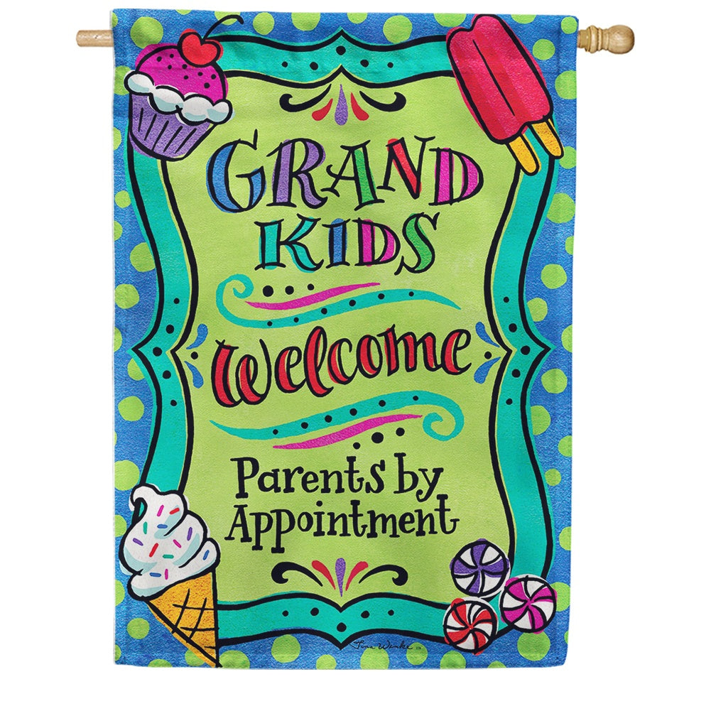 Grandkids Welcome Double Sided House Flag